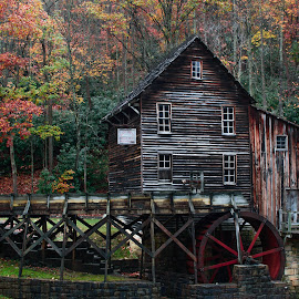 Grist Mill in the Fall by Michelle Nolan - Buildings & Architecture Public & Historical ( fall, grist mill, babcock state park, wv,  )