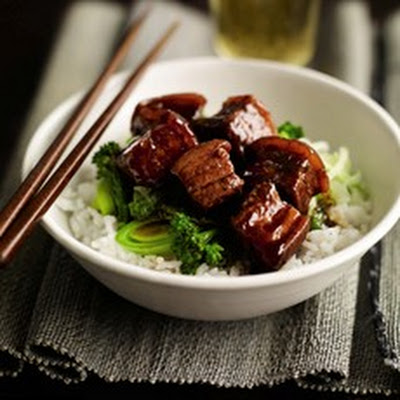 Hung Shao pork with steamed greens and fragrant rice