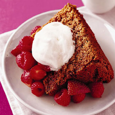 Chocolate Angel Food Cake with Fruit and Maple Yogurt