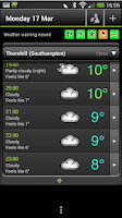 Screenshot of Met Office Weather Application
