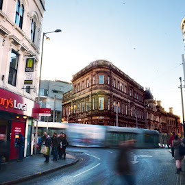 Rushing Afternoon by Irwan Limanto - City,  Street & Park  Street Scenes ( sky, rush, street, buildings, busy, architecture, rushing, nottingham, city )