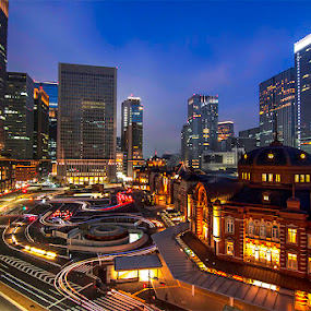 Tokyo Station by Hamid Alhabib - City,  Street & Park  Night ( , Lighting, moods, mood lighting )