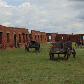 THE FORT UNION WAGON CORRAL by SHARON ARMIJO - Buildings & Architecture Public & Historical ( corral, forts, wagons, historic, military, adobe walls )