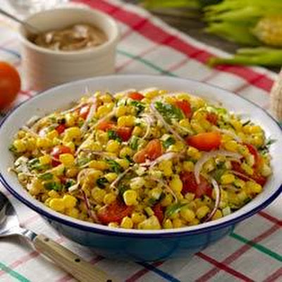 Fresh Summer Corn Salad with Creamy Italian Vinaigrette
