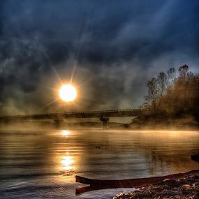 Misty Sunrise by Michael Buffington - Landscapes Sunsets & Sunrises ( sky, lake, bridge, sunrise, mist,  )