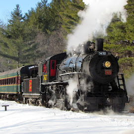 Snow Train by Janice Burnett - Transportation Trains ( steam engine, winter, steam train, snow )