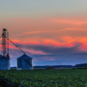 farm sunset  by Angela Taylor - Landscapes Cloud Formations ( farm, clouds, farmers, sky, sunset, colors, summer, silo, corn, fields,  )