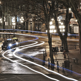 Light Trails Nearby Gassy Jack by Jonathan Ferland-Valois - City,  Street & Park  Neighborhoods ( canada, gastown, light trails, historic district, vancouver )
