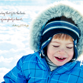 Just Smile by Luana Racan - Typography Quotes & Sentences ( smile child blue snow orange hair )