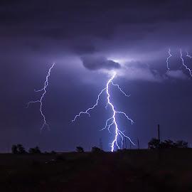 Bolt by Richard Turner - Landscapes Weather ( clouds, lightning, weather, night, storm, rain )