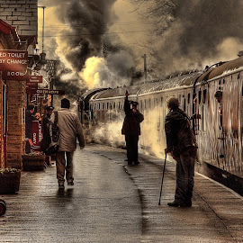 Early Morning Departure by Tim Bartlett - Transportation Trains ( platform, hdr, railway station, steam train, train, high dynamic range )