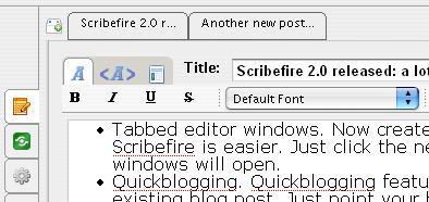 Scribefire tabbed editor window