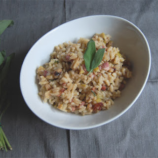 Creamy Risotto with Pancetta, Crisp Sage, and Walnuts