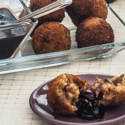 Duck Confit Arancini with Cherry Port Dipping Sauce