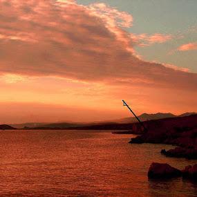 Red Sunset by Nat Bolfan-Stosic - Uncategorized All Uncategorized ( orange, red, sunset, sea, evening )