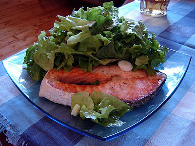 salmon green salad