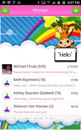 GO SMS THEME RainbowSkyMonkey