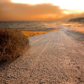 The road between.. by Pavlos Pavlou - Digital Art Places ( clouds, art, fine art, artistic, sea, road, landscape, sun,  )