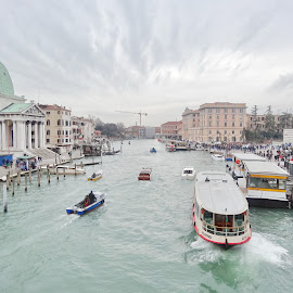 Street of Venice by Evgeniy Pisarev - Buildings & Architecture Places of Worship ( water, old, chanel, development, beautiful, street, retro, boat, history, gondola, winter, cloudes, venice, wave, rest, view, italy, construction )