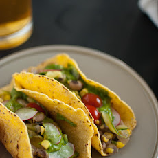 Summer Squash Tacos with Avocado Chimichurri Sauce