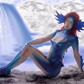 mermaid by Laura Scrimshaw - People Body Art/Tattoos ( mountains, pool, blue, mermaid, watherfall )