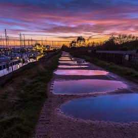 Nightfall at Lymington by Stephen Bridger - City,  Street & Park  Night ( reflection, uk, europe, harbor, harbour, travel, united kingdom, england, leading lines, sunset, puddles, lymington, marina, yacht club, travel photography, britain )