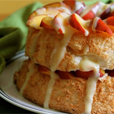 Angel Cake with Fresh Peaches and Vanilla Custard