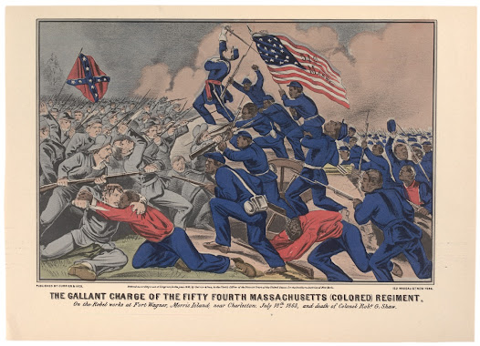 "Douglass also helped establish the 54th Massachusetts Regiment, one of the first all-black units.   Learn more about this Currier and Ives print <a href=""http://www.gilderlehrman.org/history-by-era/african-americans-and-emancipation/resources/african-american-soldiers-battle-fort-wa"">here</a>."