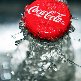 Coca Cola Cap by Morgan Grossman - Food & Drink Alcohol & Drinks ( water, red, splash, cap, drops, pop, vibrant )