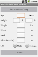 Screenshot of BMI Health Calculator