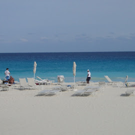 Cancun, Mexico by Lori Rider - Landscapes Beaches ( cancun, water, sand, sky, blue, mexico, umbrella, white, beach, panorama )