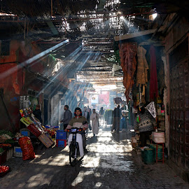 Marrakesh  by Felix Cesare - City,  Street & Park  Street Scenes ( arabic, fruit, ray, marrakesh, street, fruit market, street scene, morocco, sun beam, marokk, sun, rays, street photography, market, ray of light, beam, Earth, Light, Landscapes, Views )