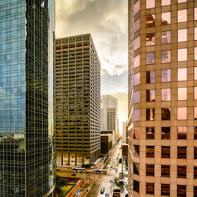 Golden Sunrise on Lamar by Dee Zunker - City,  Street & Park  Street Scenes ( building, lamar street, hdr, houston, skyline district, buildings, published 2014, reflections, sunrise, time relative, downtown )
