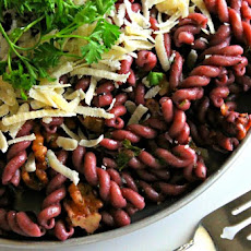 RED WINE PASTA WITH HERBS AND TOASTED WALNUTS