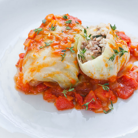 Stuffed Cabbage Rolls with White Rice, Beef & Tomato Sauce