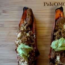 Superbowl Snacks: Avocado Chorizo Sweet Potato Skins