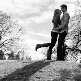 On the Hill by Jenna Rortvedt - People Couples ( black and white, silhouette, shadows, couples, engagement,  )