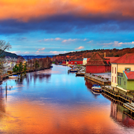 Halden - Norway by Johannes Mikkelsen - Buildings & Architecture Other Exteriors ( water, photomatix, hdr, waterscape, art, reflections, cityscape, landscape, norway, halden, d800, artistic, norge, nikon, photoshop, , colorful, mood factory, vibrant, happiness, January, moods, emotions, inspiration )