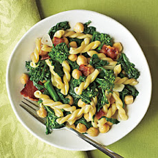 Gemelli with Broccoli Rabe, Bacon, and Chickpeas