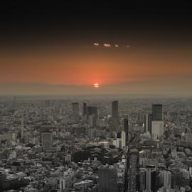 Sunset in Tokyo by Janka Menski - City,  Street & Park  Skylines ( to, skyline, skyscraper, sunset, kyo, sun, skyscape )