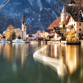 Swan of Hallstatt by Rashid Ramdan - Buildings & Architecture Public & Historical ( autumn, long exposure, hallstatt, landscape, austria,  )