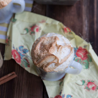 Gingerbread Latte Mug Cakes with Cinnamon Meringue