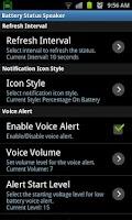 Screenshot of Battery Status Speaker