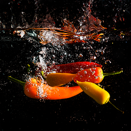 Chilli Splash by Don Alexander Lumsden - Food & Drink Fruits & Vegetables