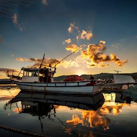 sleep time by Enver Karanfil - Transportation Boats ( clouds, sunset, boat )