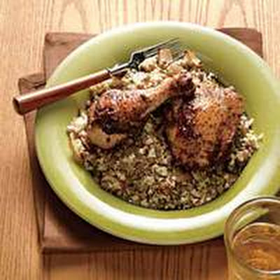 Spiced Roast Chicken with Onions, Lentils and Couscous