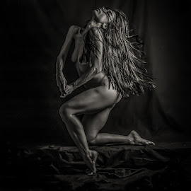 by Nathalie Gemy - Nudes & Boudoir Artistic Nude ( sculpture, body, statue, nude, black and white, woman, long hair, body art, sensuality )