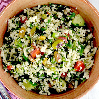 Cauliflower Tabbouleh with Raisins & Pistachios