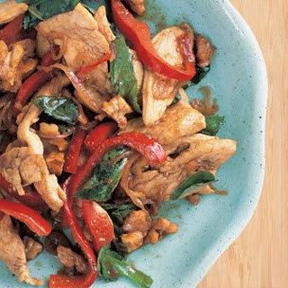 Stir-Fried Chicken with Walnuts and Basil