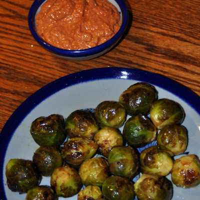 Marinated Grilled Brussels Sprouts with Walnut-Sage Romesco Sauce